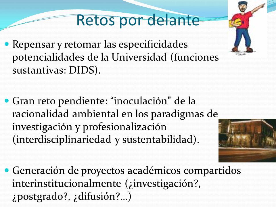Retos por delante Repensar y retomar las especificidades potencialidades de la Universidad (funciones sustantivas: DIDS). Gran reto pendiente: inocula