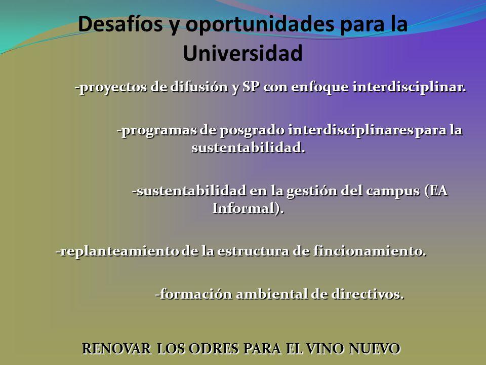 Desafíos y oportunidades para la Universidad -proyectos de difusión y SP con enfoque interdisciplinar. -programas de posgrado interdisciplinares para