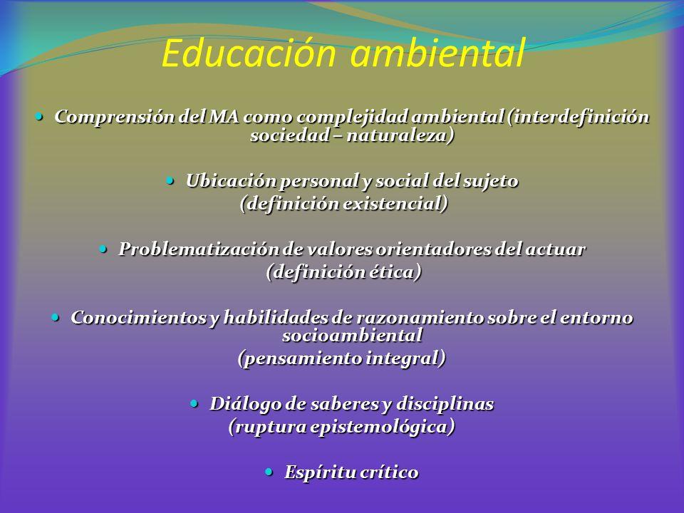 Educación ambiental Comprensión del MA como complejidad ambiental (interdefinición sociedad – naturaleza) Comprensión del MA como complejidad ambienta