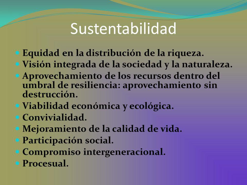 Sustentabilidad Equidad en la distribución de la riqueza. Visión integrada de la sociedad y la naturaleza. Aprovechamiento de los recursos dentro del