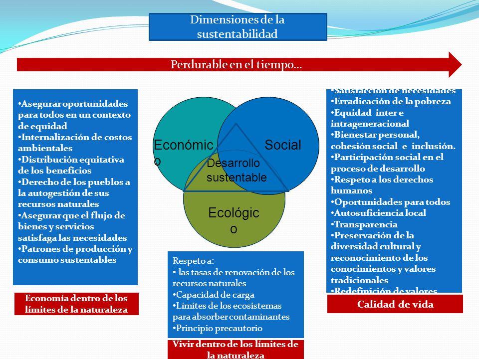 Económic o Social Ecológic o Asegurar oportunidades para todos en un contexto de equidad Internalización de costos ambientales Distribución equitativa