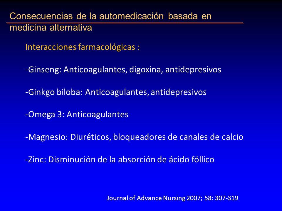Consecuencias de la automedicación basada en medicina alternativa Interacciones farmacológicas : -Ginseng: Anticoagulantes, digoxina, antidepresivos -Ginkgo biloba: Anticoagulantes, antidepresivos -Omega 3: Anticoagulantes -Magnesio: Diuréticos, bloqueadores de canales de calcio -Zinc: Disminución de la absorción de ácido fóllico Journal of Advance Nursing 2007; 58: 307-319