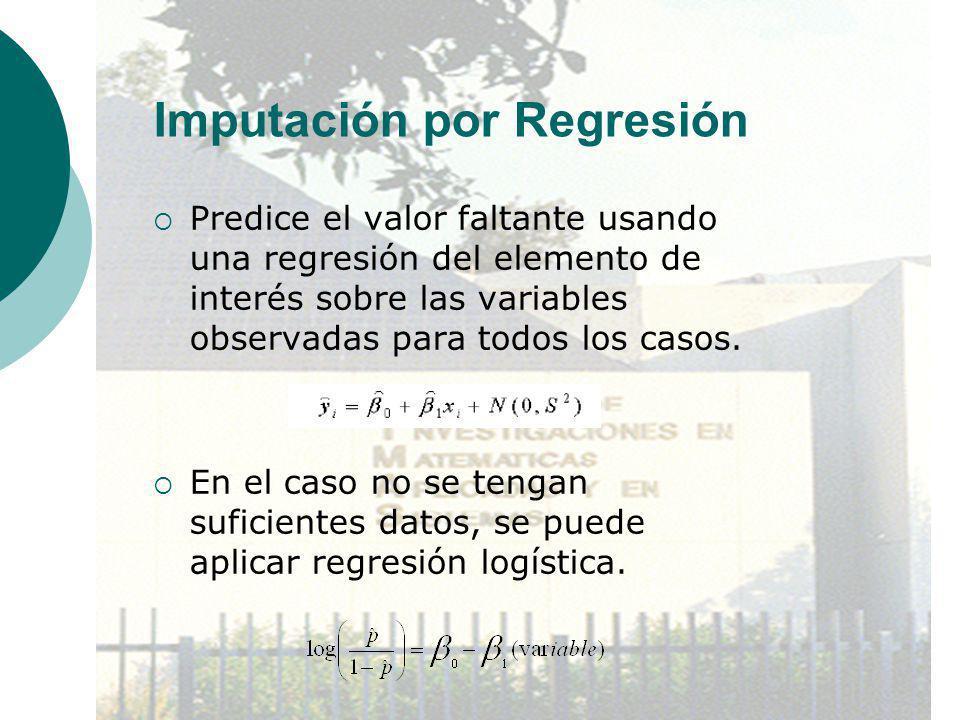Imputación por Regresión Predice el valor faltante usando una regresión del elemento de interés sobre las variables observadas para todos los casos. E