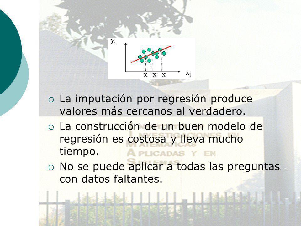 La imputación por regresión produce valores más cercanos al verdadero. La construcción de un buen modelo de regresión es costosa y lleva mucho tiempo.