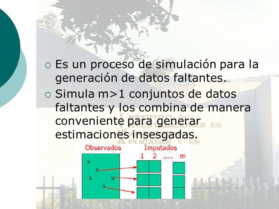 Es un proceso de simulación para la generación de datos faltantes. Simula m>1 conjuntos de datos faltantes y los combina de manera conveniente para ge