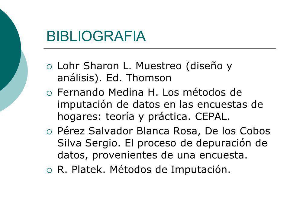 BIBLIOGRAFIA Lohr Sharon L. Muestreo (diseño y análisis). Ed. Thomson Fernando Medina H. Los métodos de imputación de datos en las encuestas de hogare