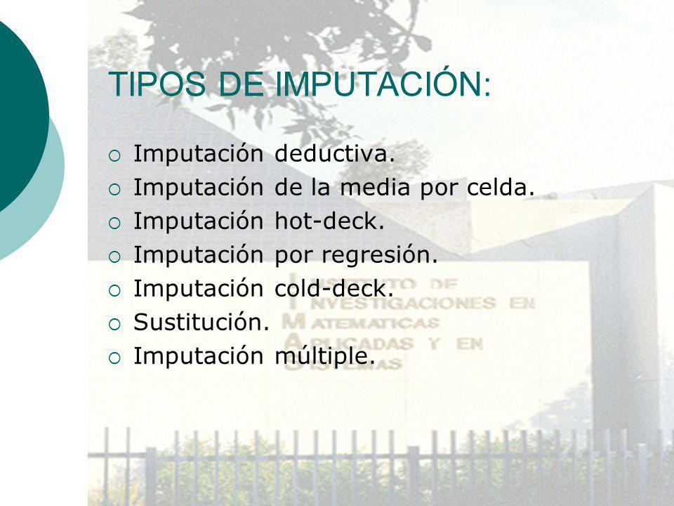 TIPOS DE IMPUTACIÓN: Imputación deductiva. Imputación de la media por celda. Imputación hot-deck. Imputación por regresión. Imputación cold-deck. Sust
