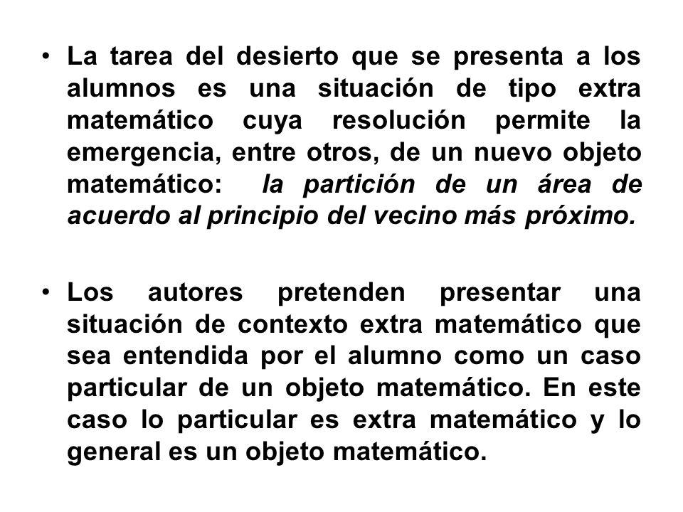 La tarea del desierto que se presenta a los alumnos es una situación de tipo extra matemático cuya resolución permite la emergencia, entre otros, de u