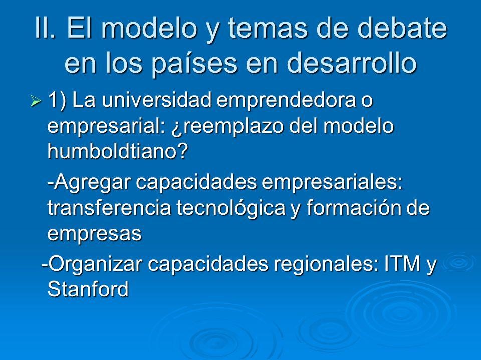 II. El modelo y temas de debate en los países en desarrollo 1) La universidad emprendedora o empresarial: ¿reemplazo del modelo humboldtiano? 1) La un