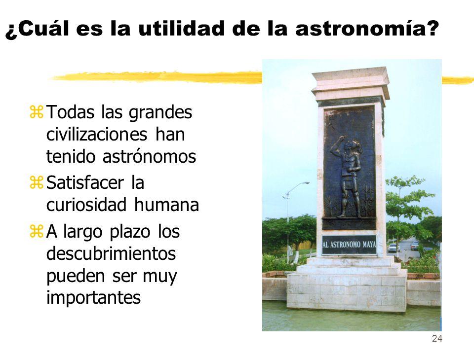 24 ¿Cuál es la utilidad de la astronomía? zTodas las grandes civilizaciones han tenido astrónomos zSatisfacer la curiosidad humana zA largo plazo los
