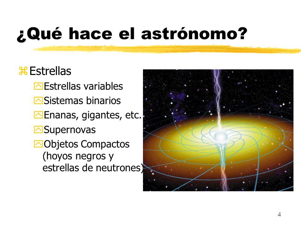 4 ¿Qué hace el astrónomo? zEstrellas yEstrellas variables ySistemas binarios yEnanas, gigantes, etc. ySupernovas yObjetos Compactos (hoyos negros y es
