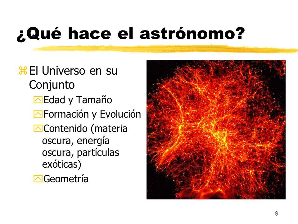 9 ¿Qué hace el astrónomo? zEl Universo en su Conjunto yEdad y Tamaño yFormación y Evolución yContenido (materia oscura, energía oscura, partículas exó