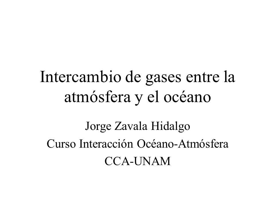 Intercambio de gases entre la atmósfera y el océano Jorge Zavala Hidalgo Curso Interacción Océano-Atmósfera CCA-UNAM