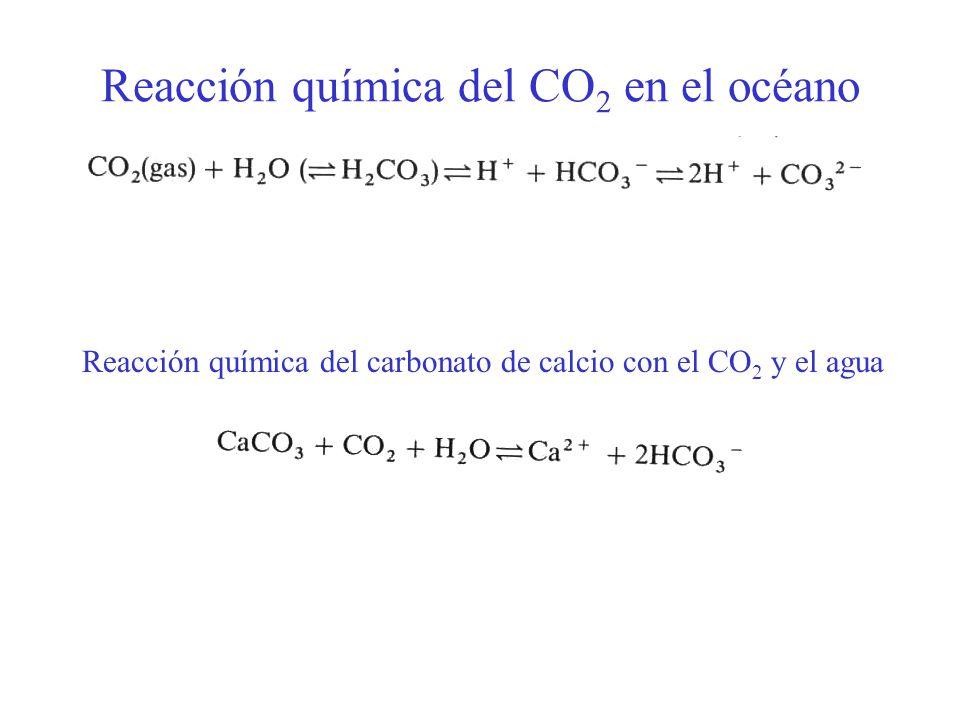 Reacción química del CO 2 en el océano Reacción química del carbonato de calcio con el CO 2 y el agua