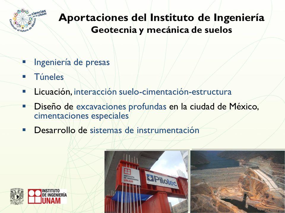 Ingeniería de presas Túneles Licuación, interacción suelo-cimentación-estructura Diseño de excavaciones profundas en la ciudad de México, cimentaciones especiales Desarrollo de sistemas de instrumentación Aportaciones del Instituto de Ingeniería Geotecnia y mecánica de suelos