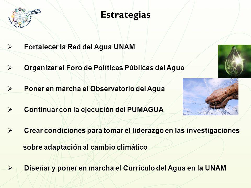 Estrategias Fortalecer la Red del Agua UNAM Organizar el Foro de Políticas Públicas del Agua Poner en marcha el Observatorio del Agua Continuar con la ejecución del PUMAGUA Crear condiciones para tomar el liderazgo en las investigaciones sobre adaptación al cambio climático Diseñar y poner en marcha el Currículo del Agua en la UNAM