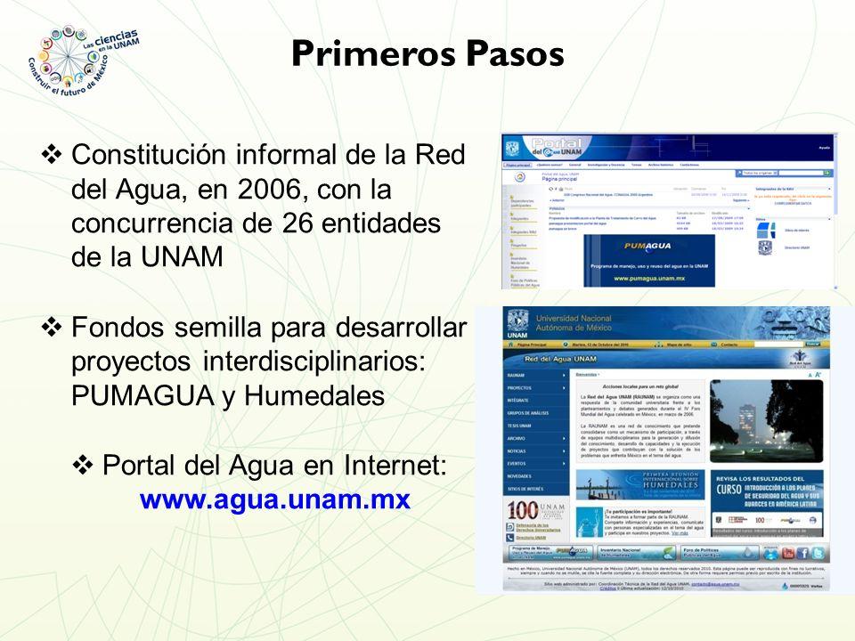 Constitución informal de la Red del Agua, en 2006, con la concurrencia de 26 entidades de la UNAM Fondos semilla para desarrollar proyectos interdisciplinarios: PUMAGUA y Humedales Portal del Agua en Internet: www.agua.unam.mx Primeros Pasos