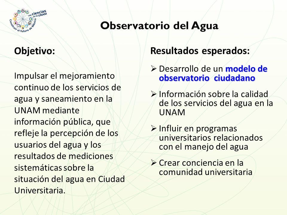 Objetivo: Impulsar el mejoramiento continuo de los servicios de agua y saneamiento en la UNAM mediante información pública, que refleje la percepción de los usuarios del agua y los resultados de mediciones sistemáticas sobre la situación del agua en Ciudad Universitaria.