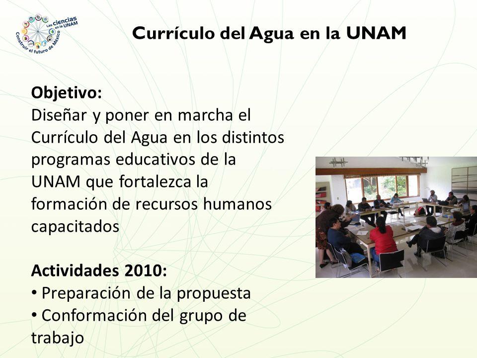 Currículo del Agua en la UNAM Objetivo: Diseñar y poner en marcha el Currículo del Agua en los distintos programas educativos de la UNAM que fortalezca la formación de recursos humanos capacitados Actividades 2010: Preparación de la propuesta Conformación del grupo de trabajo