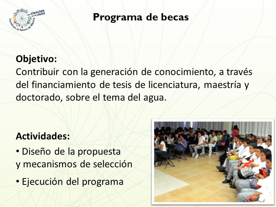 Programa de becas Objetivo: Contribuir con la generación de conocimiento, a través del financiamiento de tesis de licenciatura, maestría y doctorado, sobre el tema del agua.