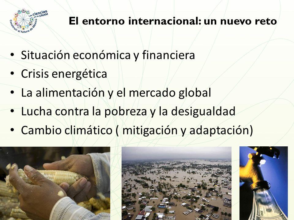 El entorno internacional: un nuevo reto Situación económica y financiera Crisis energética La alimentación y el mercado global Lucha contra la pobreza y la desigualdad Cambio climático ( mitigación y adaptación)
