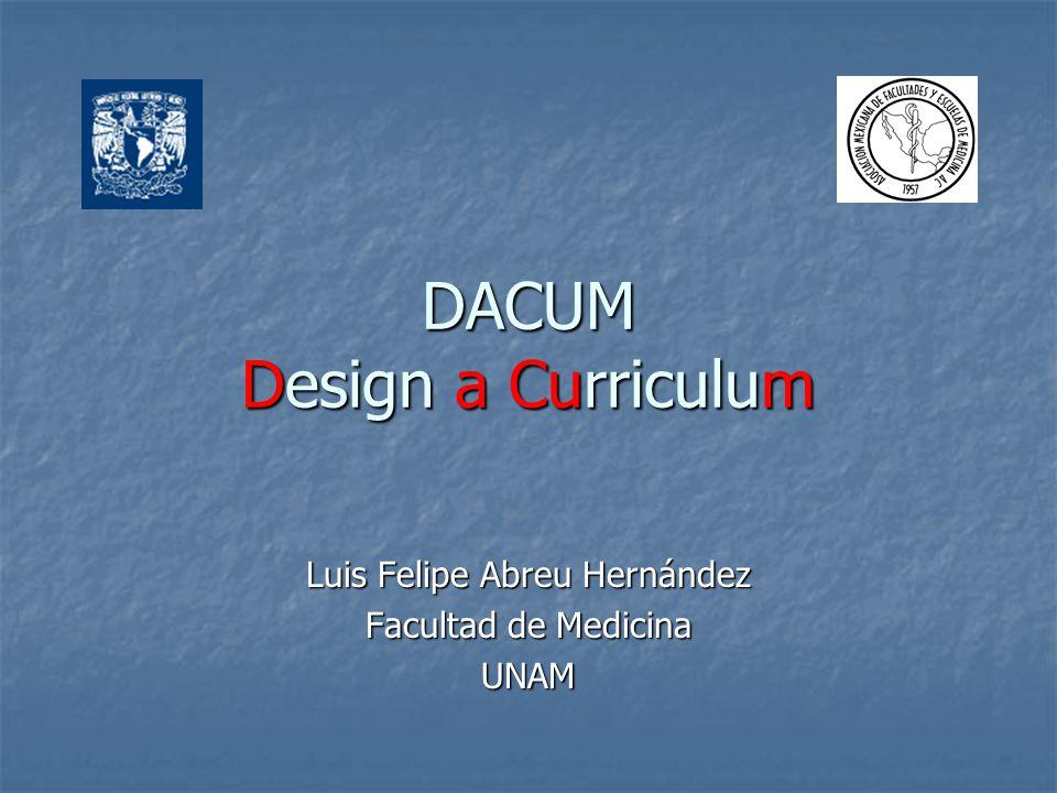 DACUM Design a Curriculum Luis Felipe Abreu Hernández Facultad de Medicina UNAM