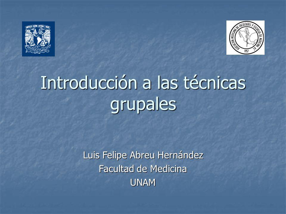 Introducción a las técnicas grupales Luis Felipe Abreu Hernández Facultad de Medicina UNAM