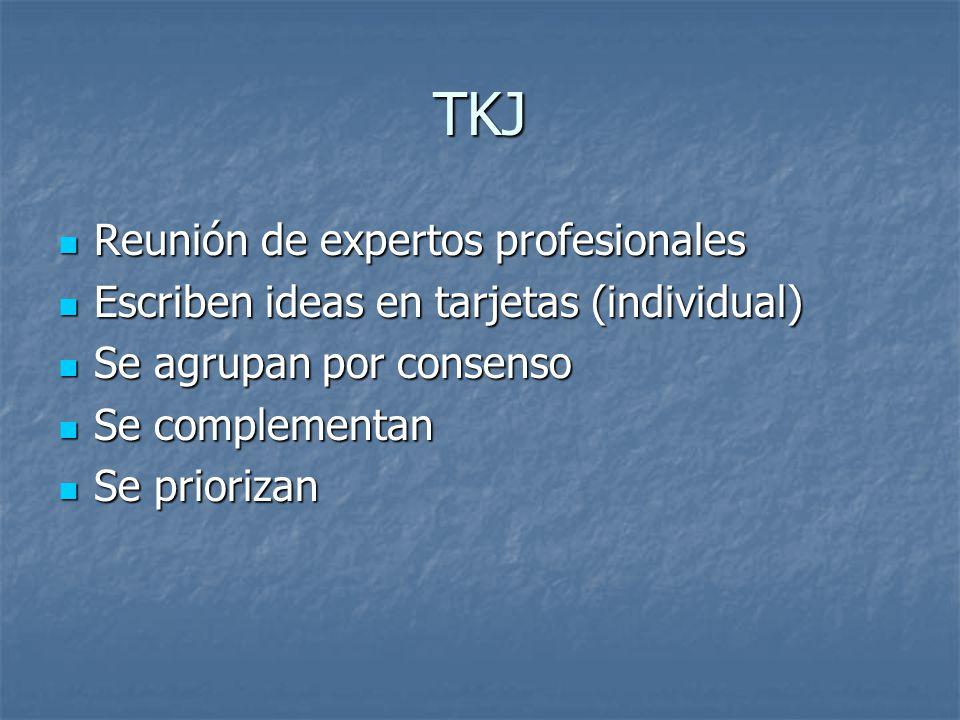 TKJ Reunión de expertos profesionales Reunión de expertos profesionales Escriben ideas en tarjetas (individual) Escriben ideas en tarjetas (individual) Se agrupan por consenso Se agrupan por consenso Se complementan Se complementan Se priorizan Se priorizan