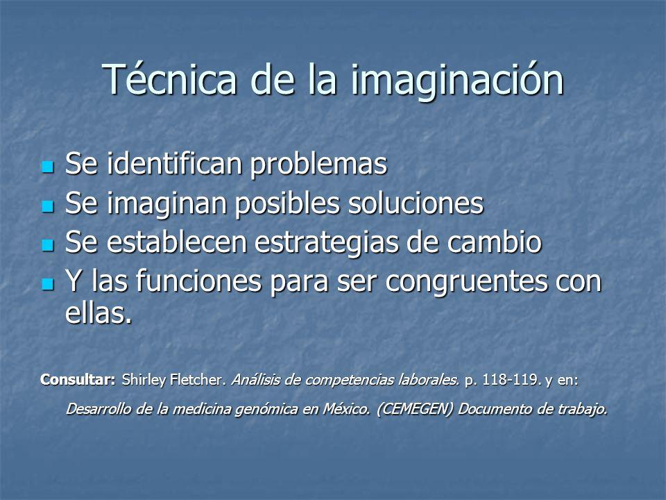 Técnica de la imaginación Se identifican problemas Se identifican problemas Se imaginan posibles soluciones Se imaginan posibles soluciones Se establecen estrategias de cambio Se establecen estrategias de cambio Y las funciones para ser congruentes con ellas.