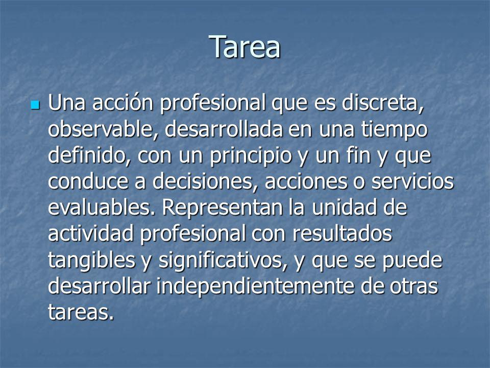Tarea Una acción profesional que es discreta, observable, desarrollada en una tiempo definido, con un principio y un fin y que conduce a decisiones, acciones o servicios evaluables.