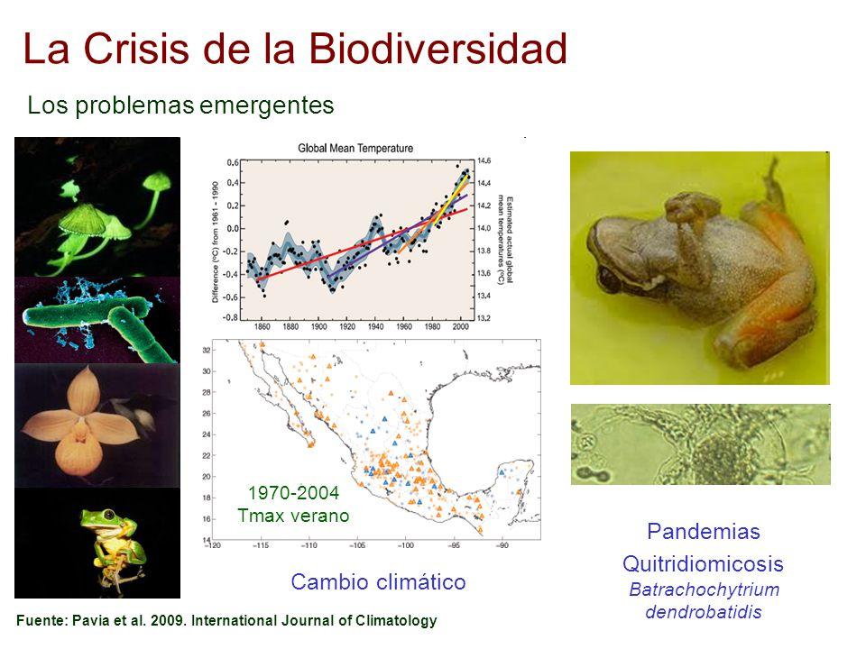 La Crisis de la Biodiversidad Los problemas emergentes Fuente: Pavia et al. 2009. International Journal of Climatology 1970-2004 Tmax verano Cambio cl