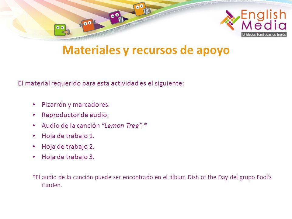 El material requerido para esta actividad es el siguiente: Pizarrón y marcadores.