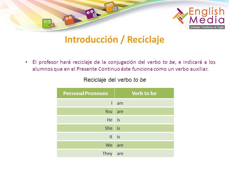 El profesor hará reciclaje de la conjugación del verbo to be, e indicará a los alumnos que en el Presente Continuo éste funciona como un verbo auxiliar.