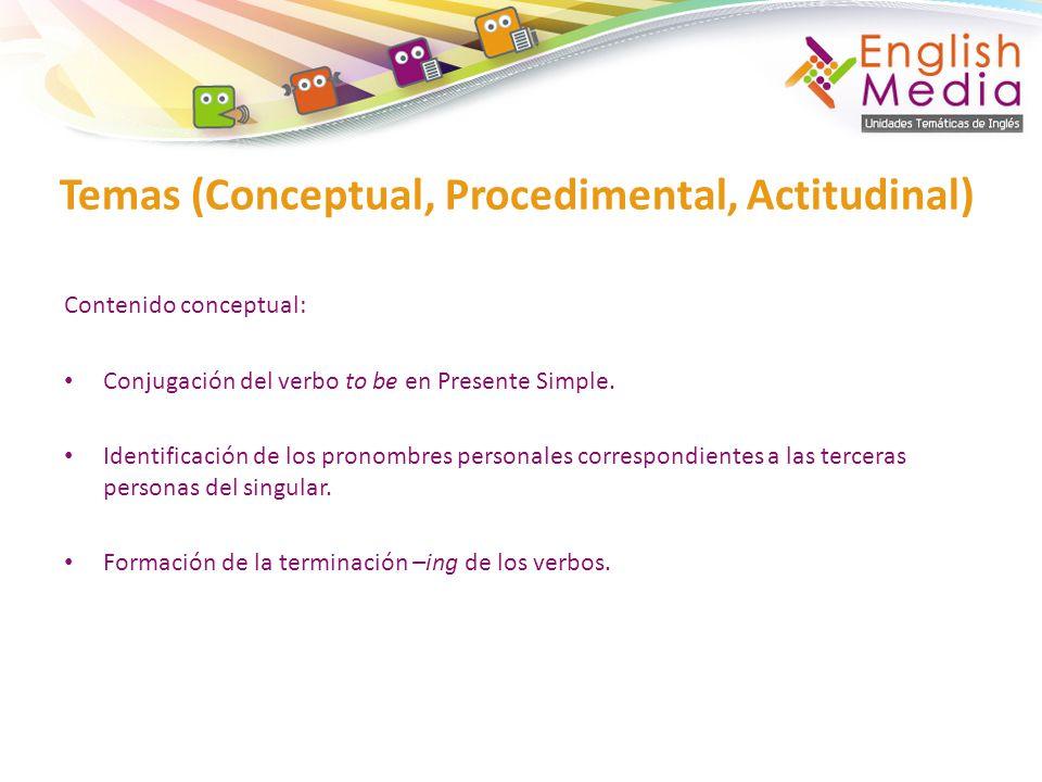 Contenido conceptual: Conjugación del verbo to be en Presente Simple.