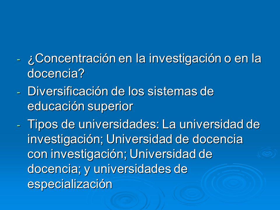 - ¿Concentración en la investigación o en la docencia.