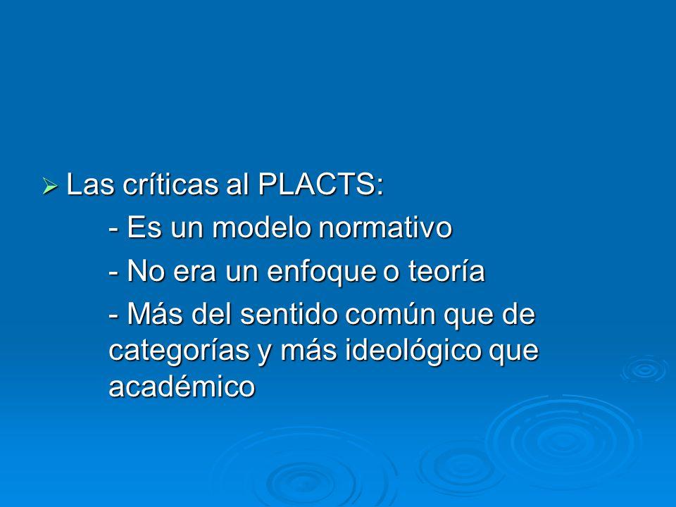 Las críticas al PLACTS: Las críticas al PLACTS: - Es un modelo normativo - No era un enfoque o teoría - Más del sentido común que de categorías y más ideológico que académico