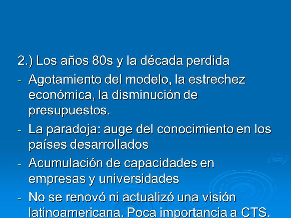 2.) Los años 80s y la década perdida - Agotamiento del modelo, la estrechez económica, la disminución de presupuestos.
