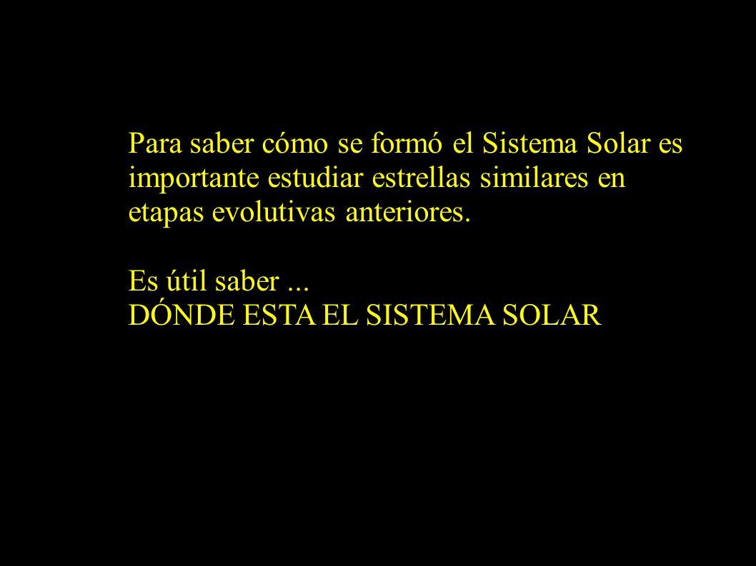 Para saber cómo se formó el Sistema Solar es importante estudiar estrellas similares en etapas evolutivas anteriores. Es útil saber... DÓNDE ESTA EL S