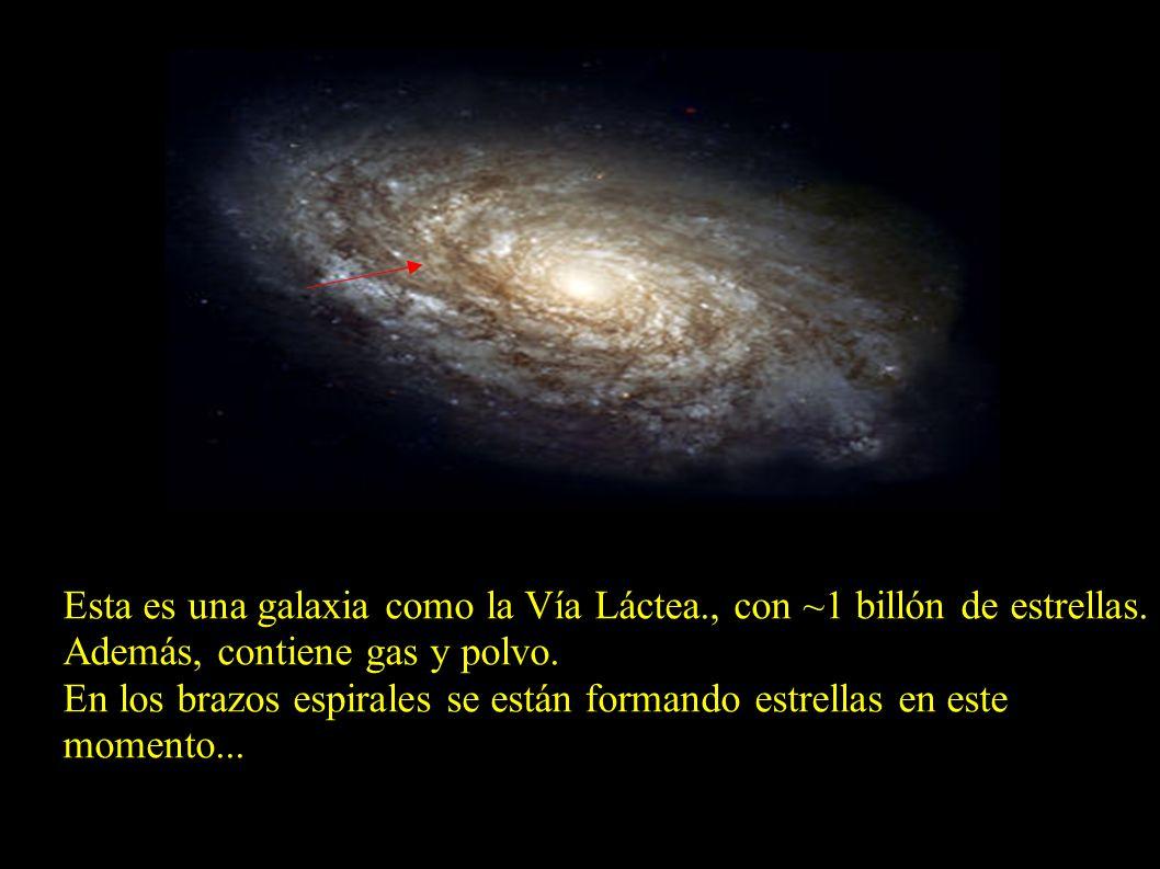 Esta es una galaxia como la Vía Láctea., con ~1 billón de estrellas. Además, contiene gas y polvo. En los brazos espirales se están formando estrellas