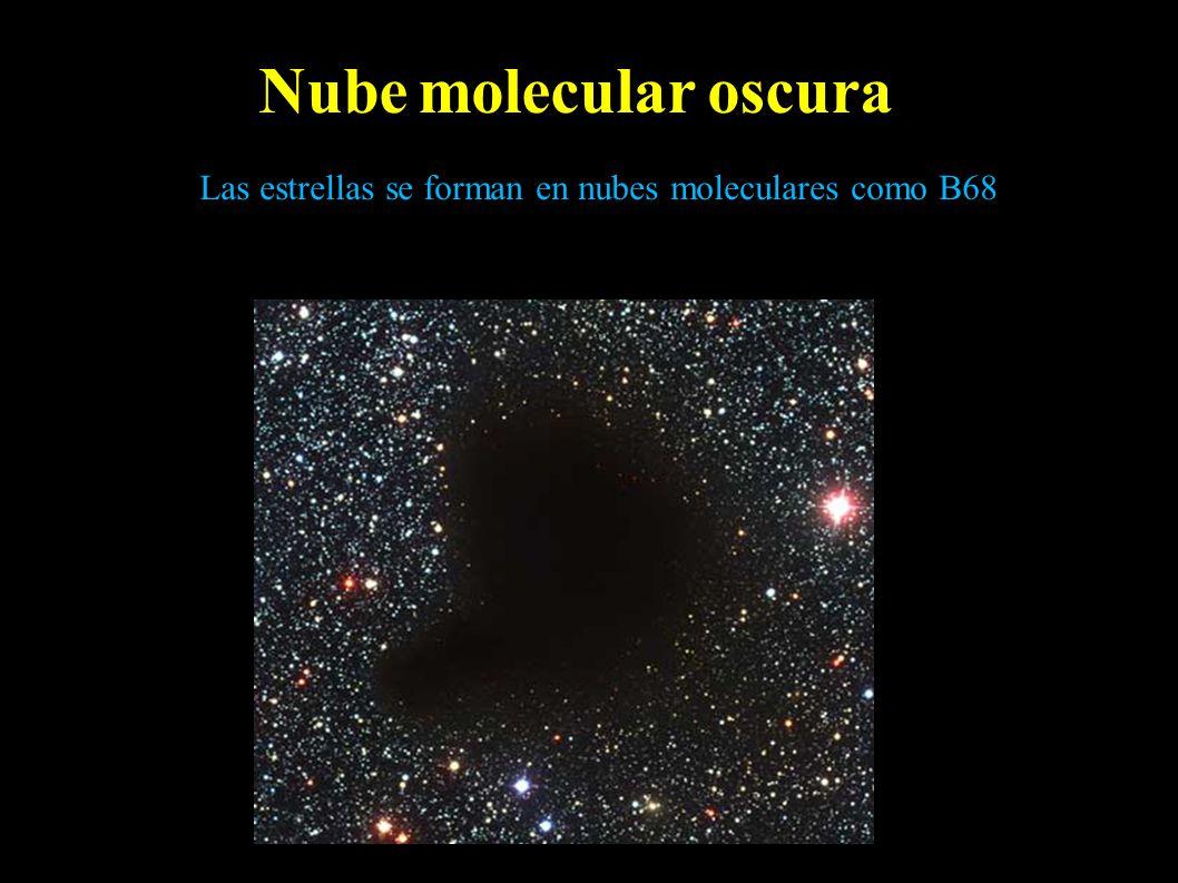 Nube molecular oscura Las estrellas se forman en nubes moleculares como B68