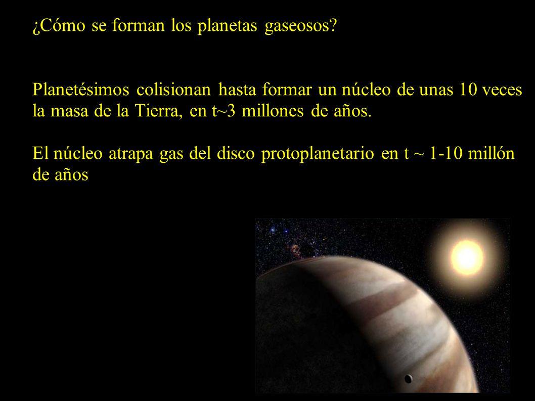 ¿Cómo se forman los planetas gaseosos? Planetésimos colisionan hasta formar un núcleo de unas 10 veces la masa de la Tierra, en t~3 millones de años.