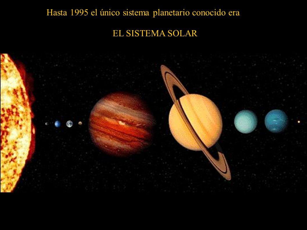 Hasta 1995 el único sistema planetario conocido era EL SISTEMA SOLAR