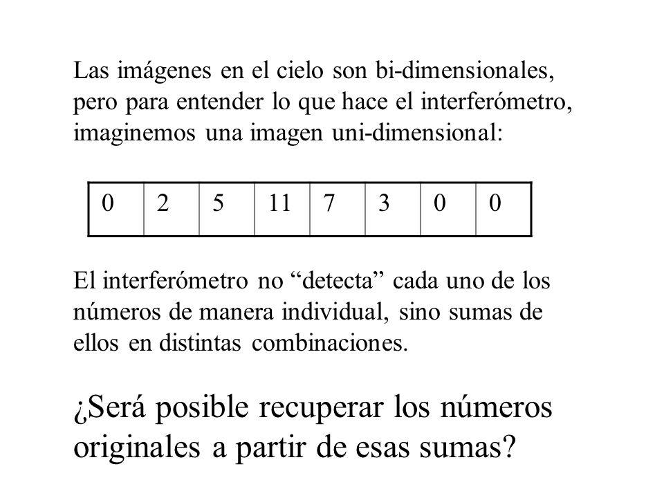 Las imágenes en el cielo son bi-dimensionales, pero para entender lo que hace el interferómetro, imaginemos una imagen uni-dimensional: 0 2 5 11 7 3 0