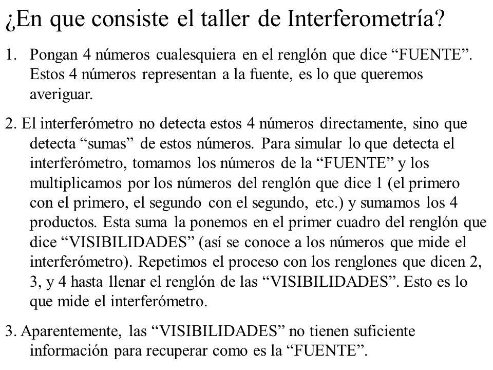 ¿En que consiste el taller de Interferometría? 1.Pongan 4 números cualesquiera en el renglón que dice FUENTE. Estos 4 números representan a la fuente,