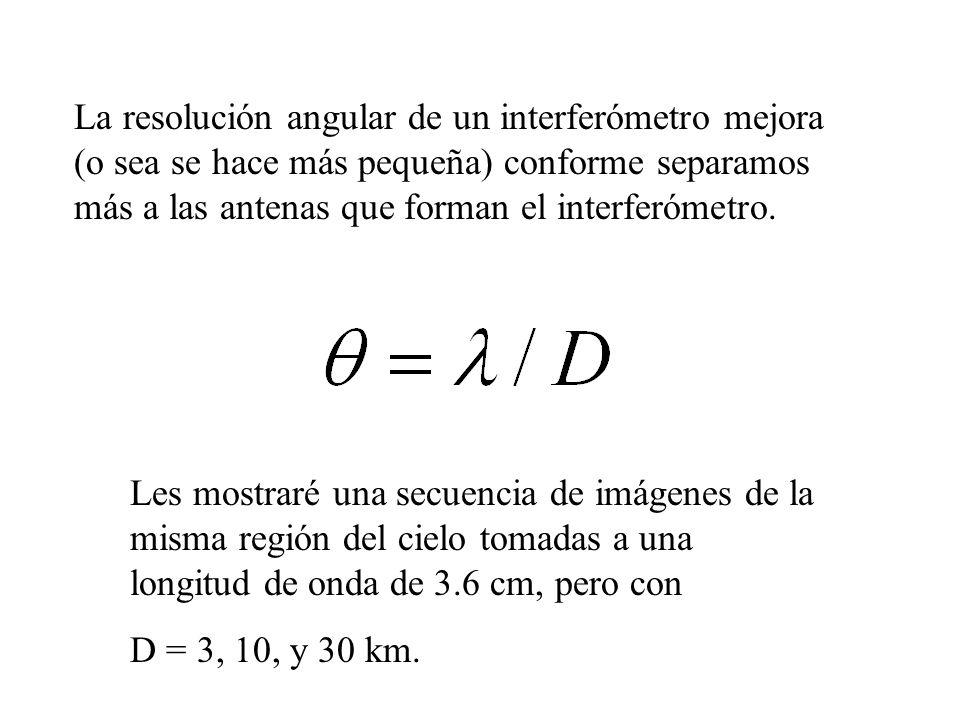 La resolución angular de un interferómetro mejora (o sea se hace más pequeña) conforme separamos más a las antenas que forman el interferómetro. Les m
