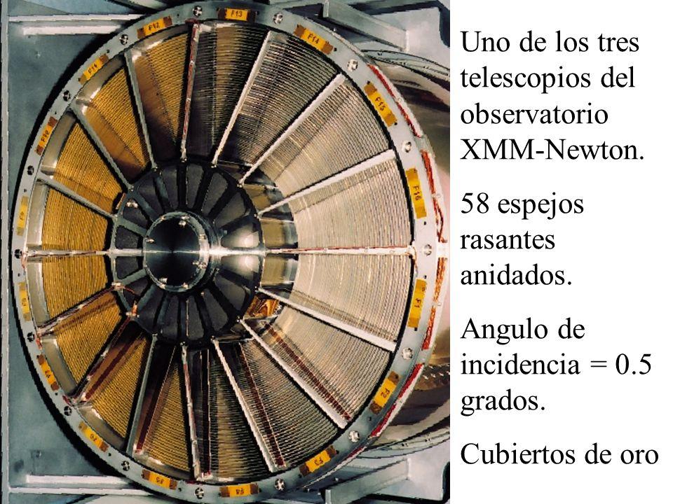 Uno de los tres telescopios del observatorio XMM-Newton. 58 espejos rasantes anidados. Angulo de incidencia = 0.5 grados. Cubiertos de oro
