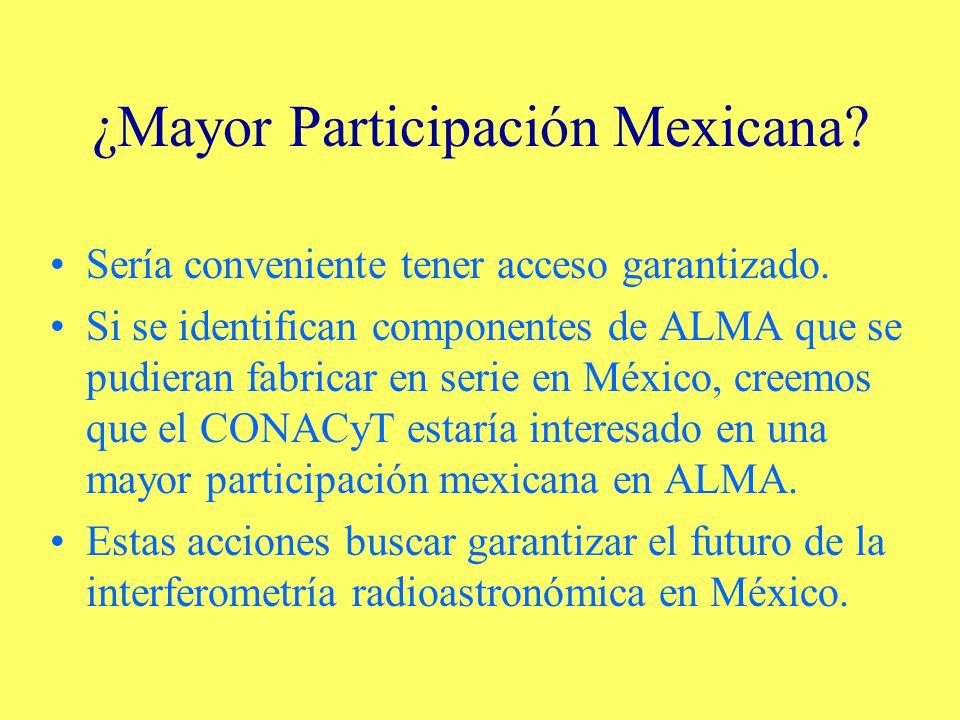 ¿Mayor Participación Mexicana.Sería conveniente tener acceso garantizado.