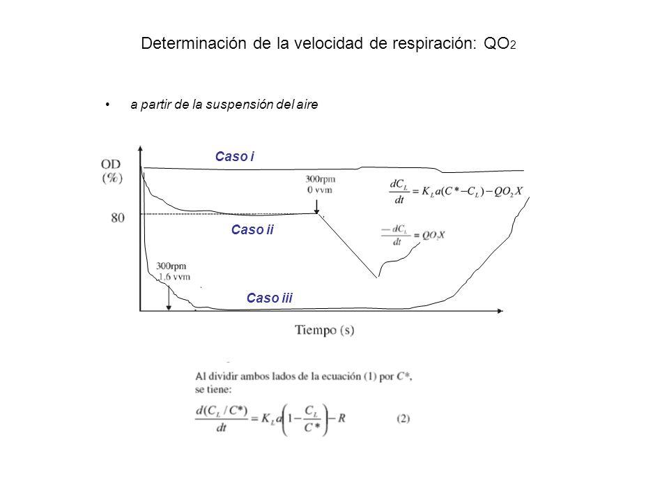 Determinación de la velocidad de respiración: QO 2 a partir de la suspensión del aire Caso i Caso ii Caso iii