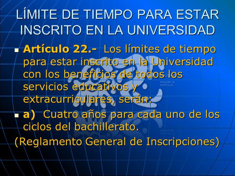 LÍMITE DE TIEMPO PARA ESTAR INSCRITO EN LA UNIVERSIDAD Artículo 22.- Los límites de tiempo para estar inscrito en la Universidad con los beneficios de