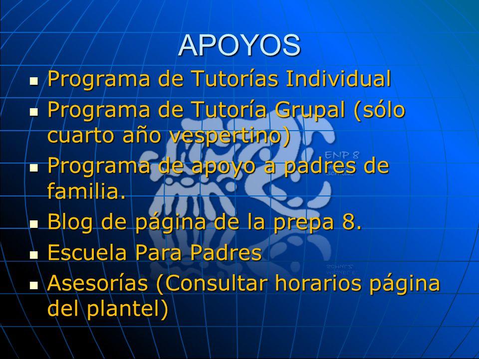 APOYOS Programa de Tutorías Individual Programa de Tutorías Individual Programa de Tutoría Grupal (sólo cuarto año vespertino) Programa de Tutoría Gru